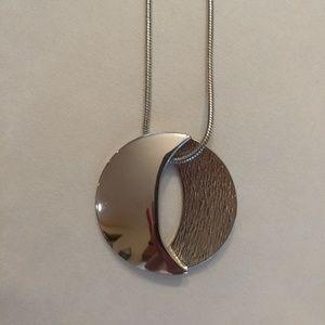Lia Sophia Large Silver Pendant Necklace